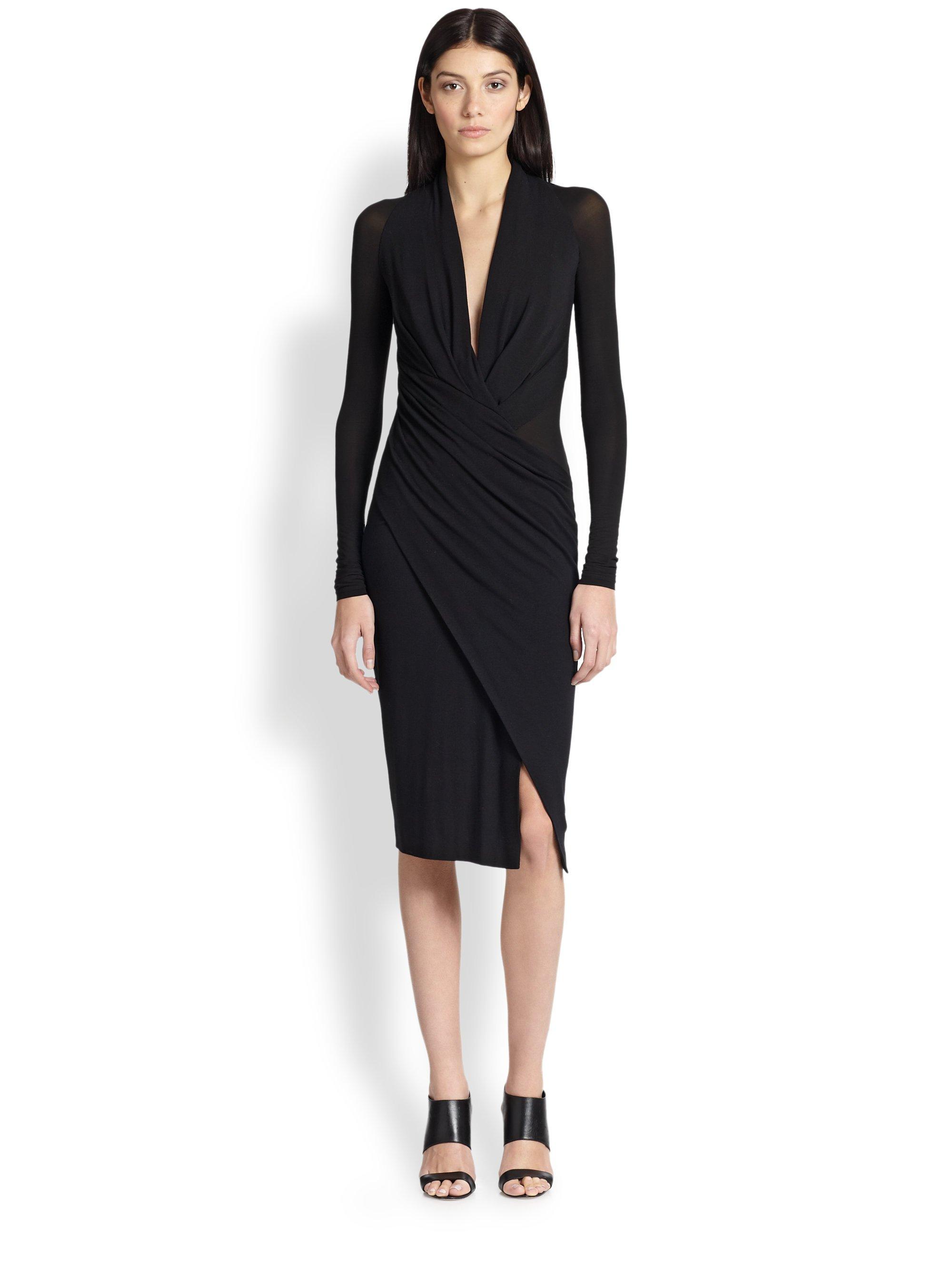 Donna Karan Jersey Wrap Around Dress In Black Lyst