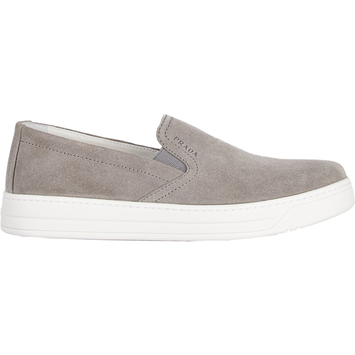 Slip Lyst Sneakers Gray Prada On In Suede 354RLAqj