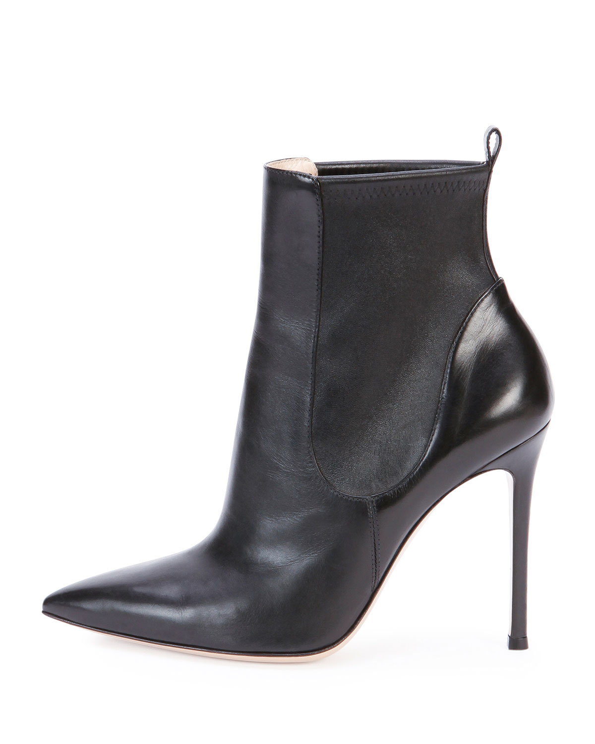 gianvito stretch leather ankle boot in black lyst
