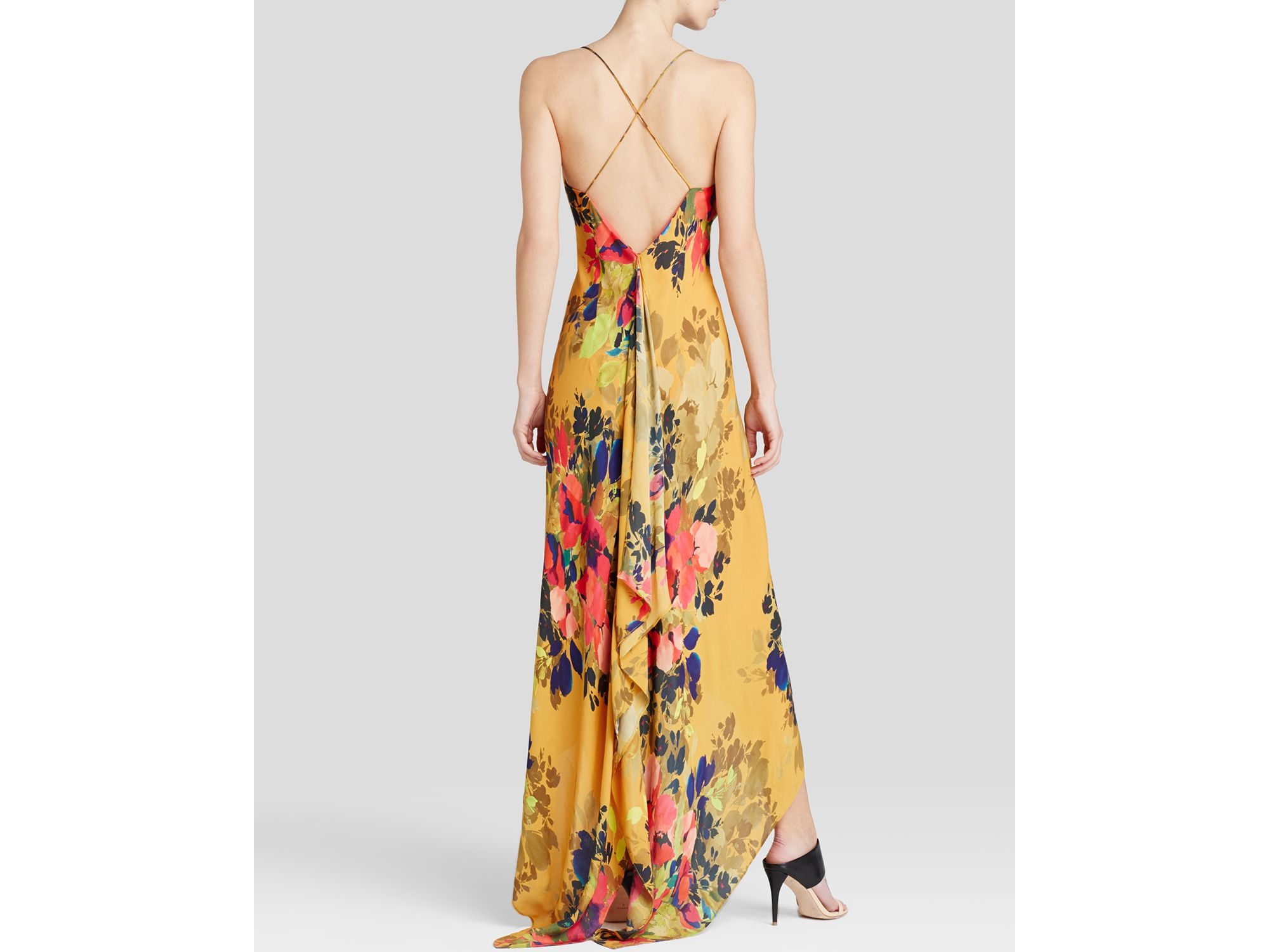 Nicole miller Maxi Dress - Angelina Satin Printed High/low Hem | Lyst