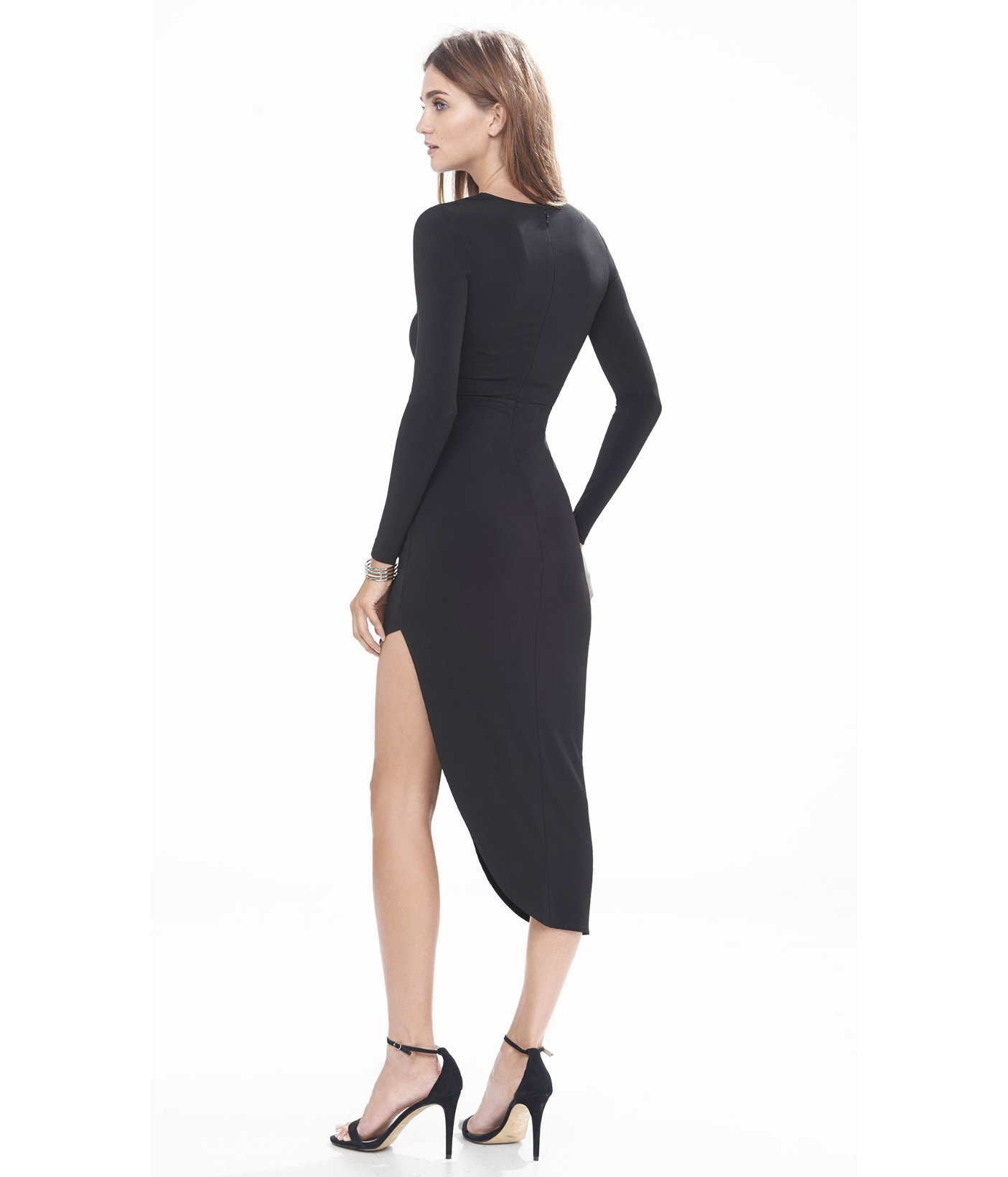 Express Black Asymmetrical Draped Hem Midi Dress in Black  Lyst