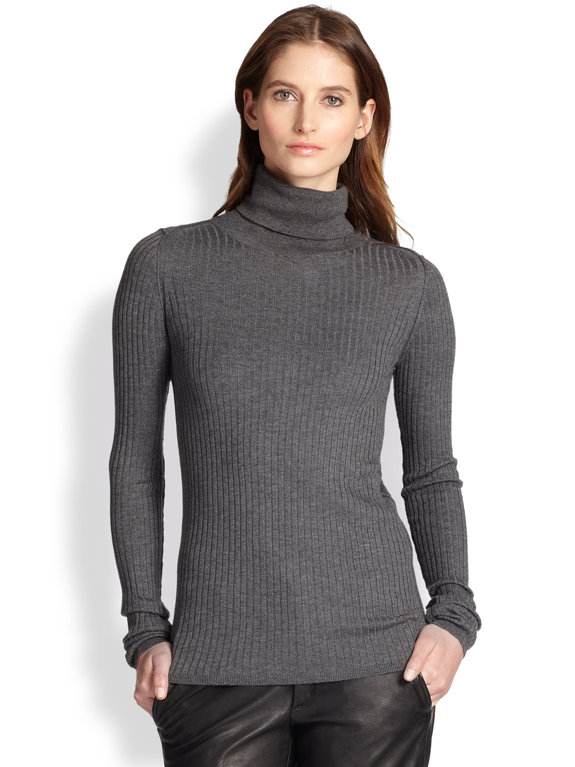 Vince Ribbed Cashmere Blend Turtleneck Sweater in Gray | Lyst