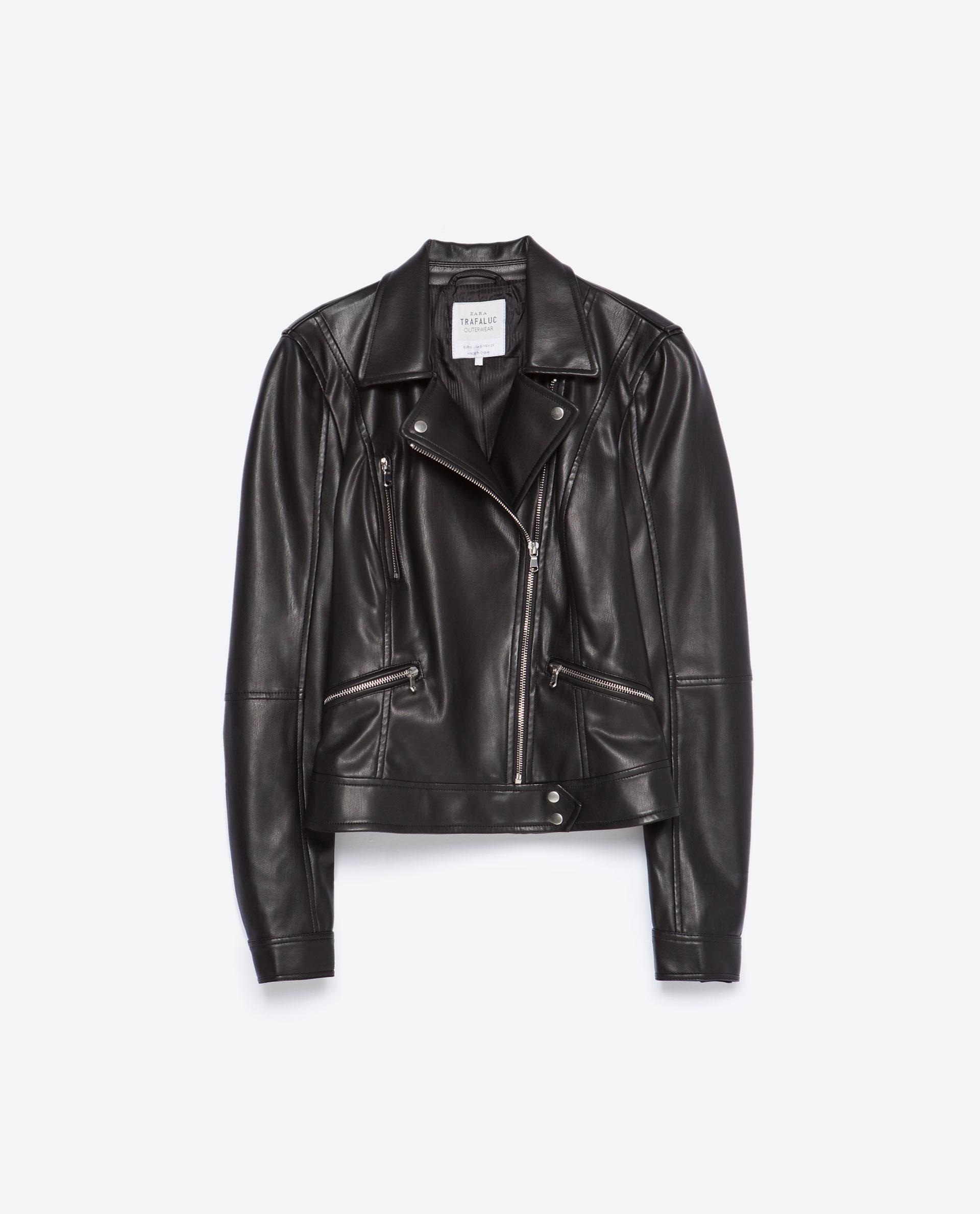 zara biker jacket in black lyst. Black Bedroom Furniture Sets. Home Design Ideas