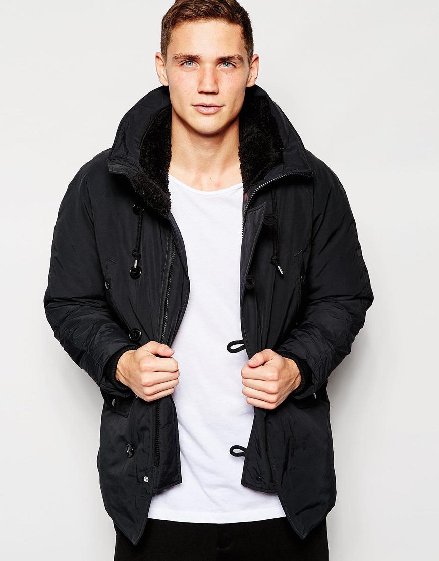 Franklin &amp marshall Parka With Fleece Lined Hood in Black for Men