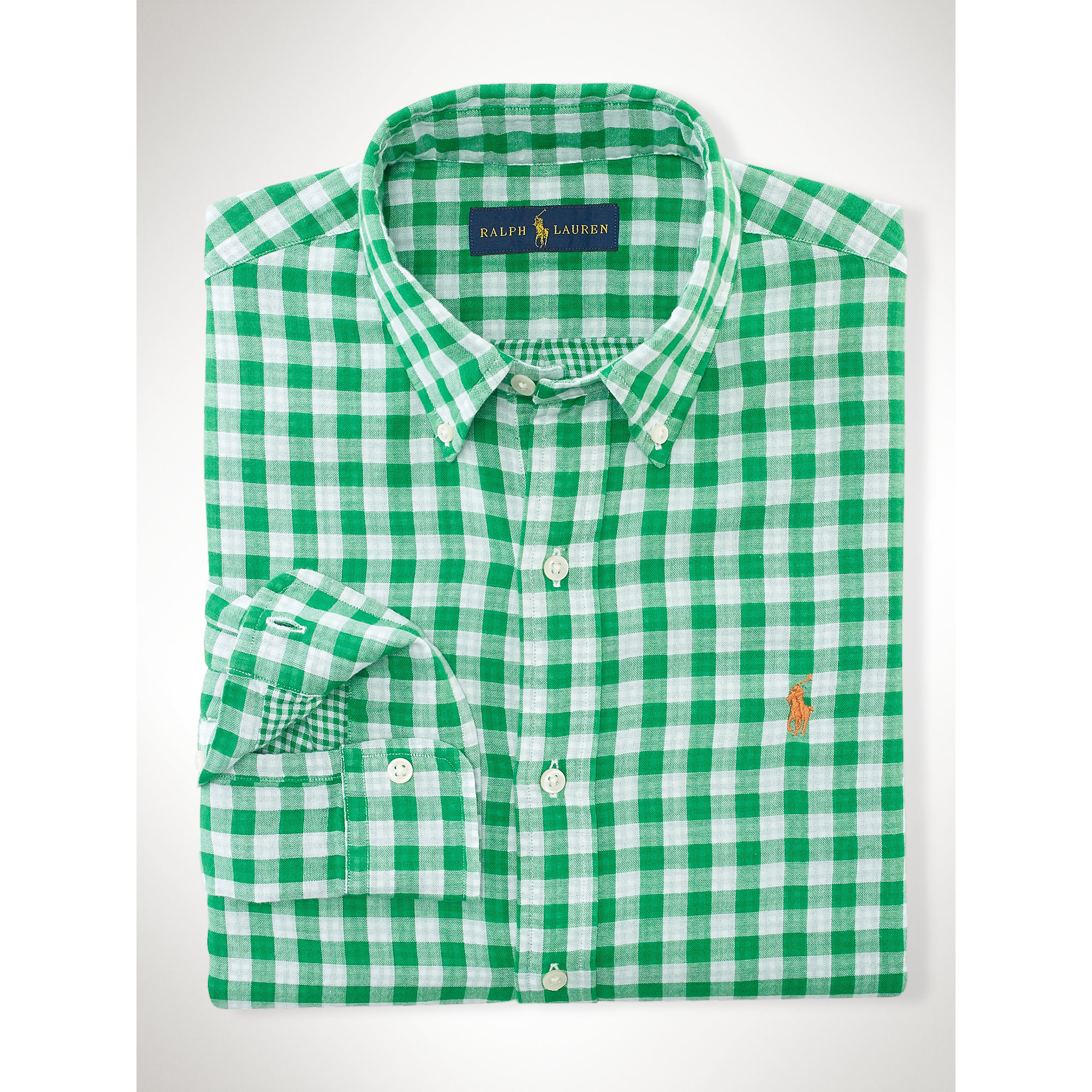 Polo ralph lauren double faced gingham shirt in green for for Mens green gingham dress shirt