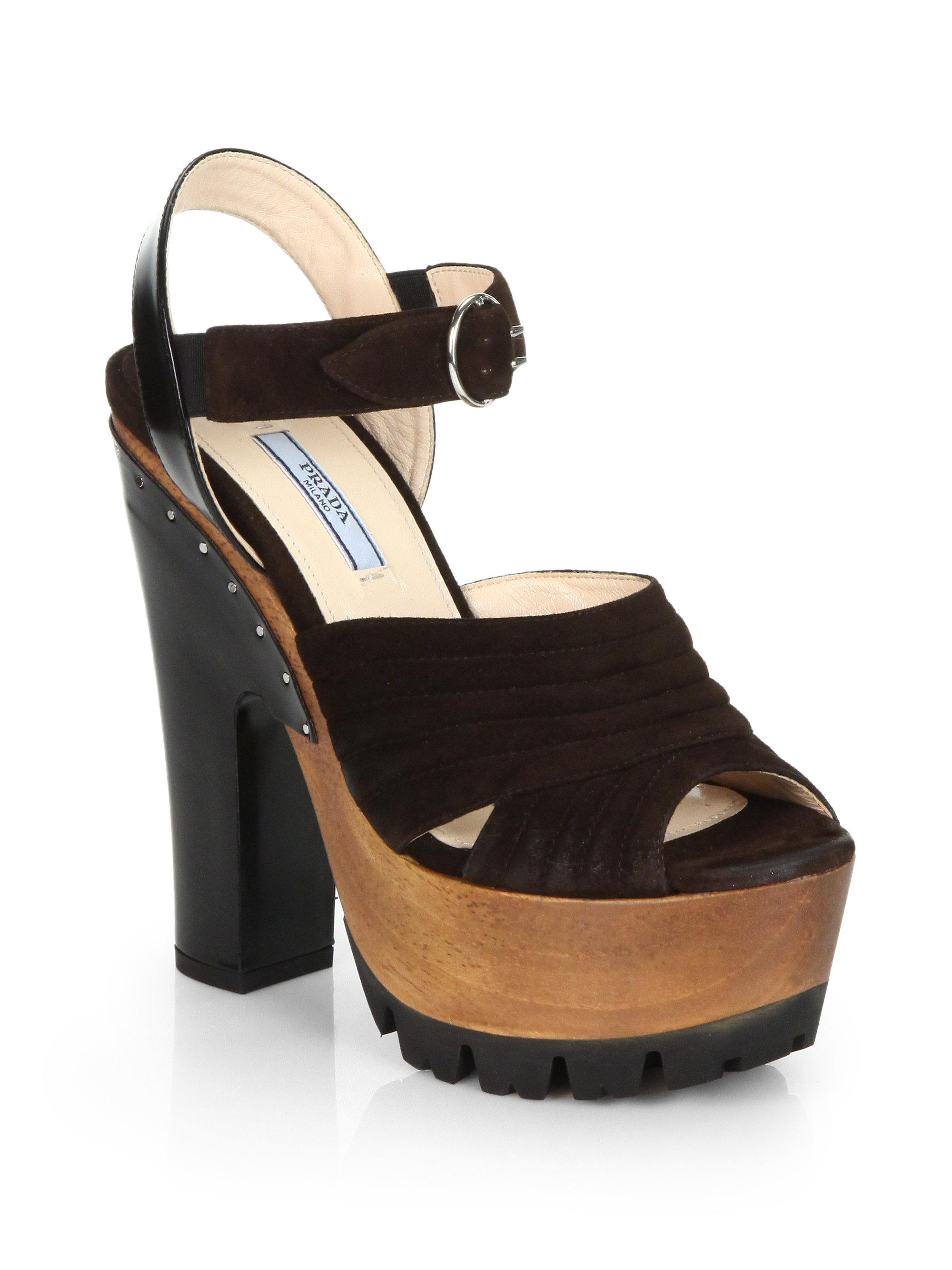 Prada Suede Wooden Platform Sandals In Black Brown Black