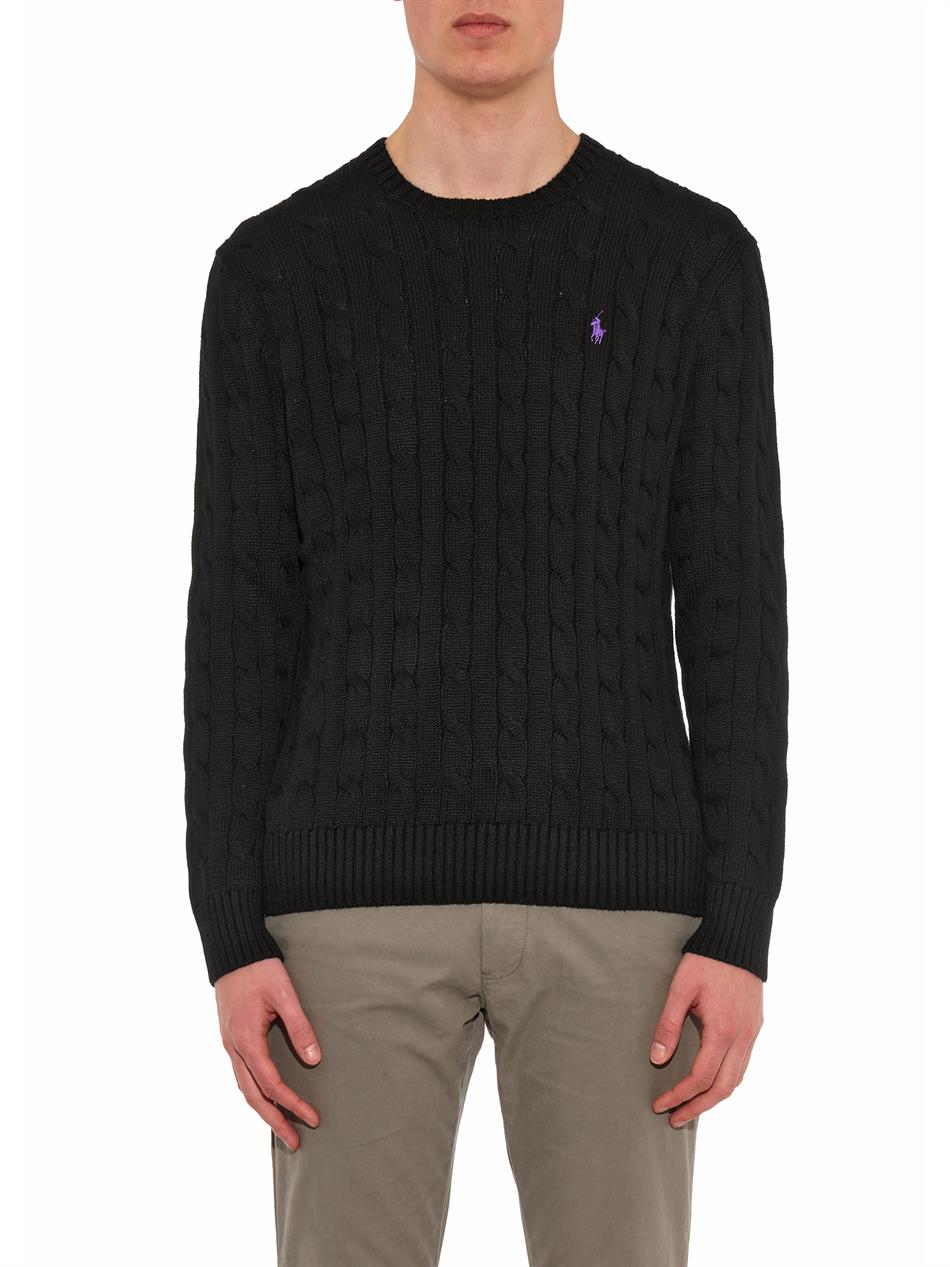Polo ralph lauren Cable-knit Cotton Sweater in Black for Men | Lyst