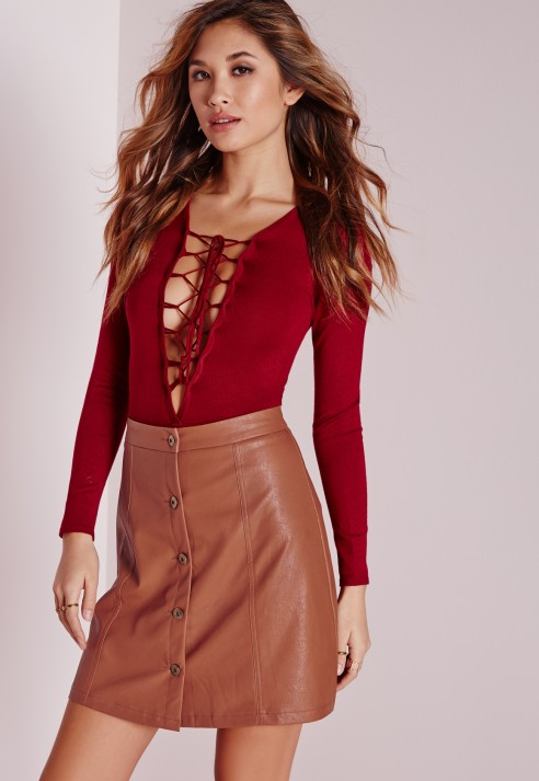 Missguided Button Faux Leather Mini Skirt Tan in Brown | Lyst