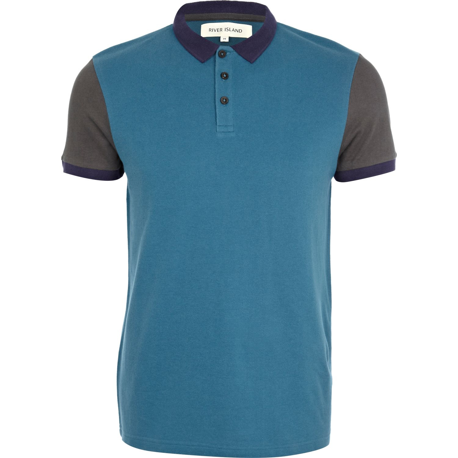 River island blue color block polo shirt in blue for men for Polo color block shirt