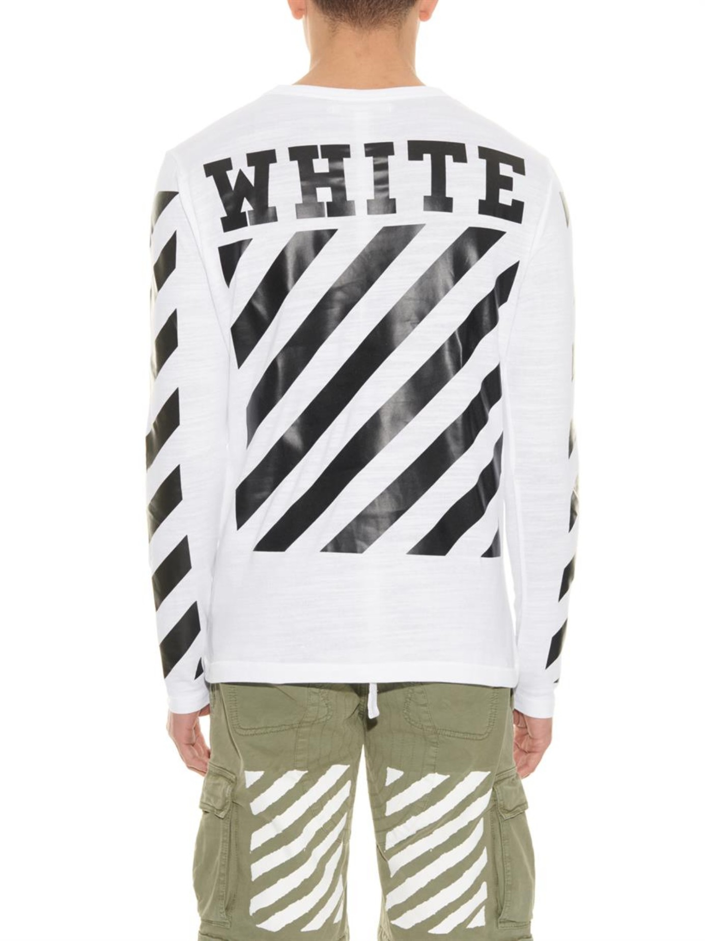 346392a67 Off-White c/o Virgil Abloh Striped Long-Sleeved T-Shirt in White for ...