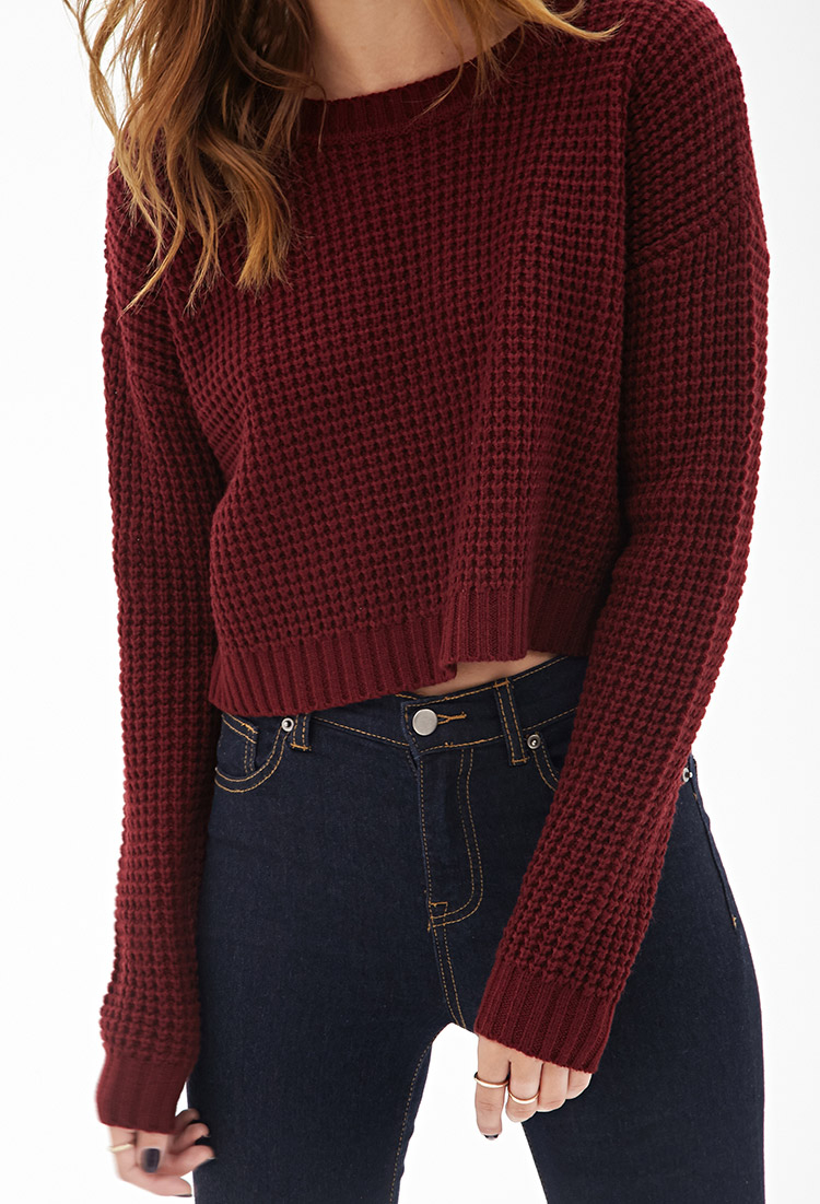 8dcea6bddf Lyst - Forever 21 Cropped Waffle Knit Sweater in Red