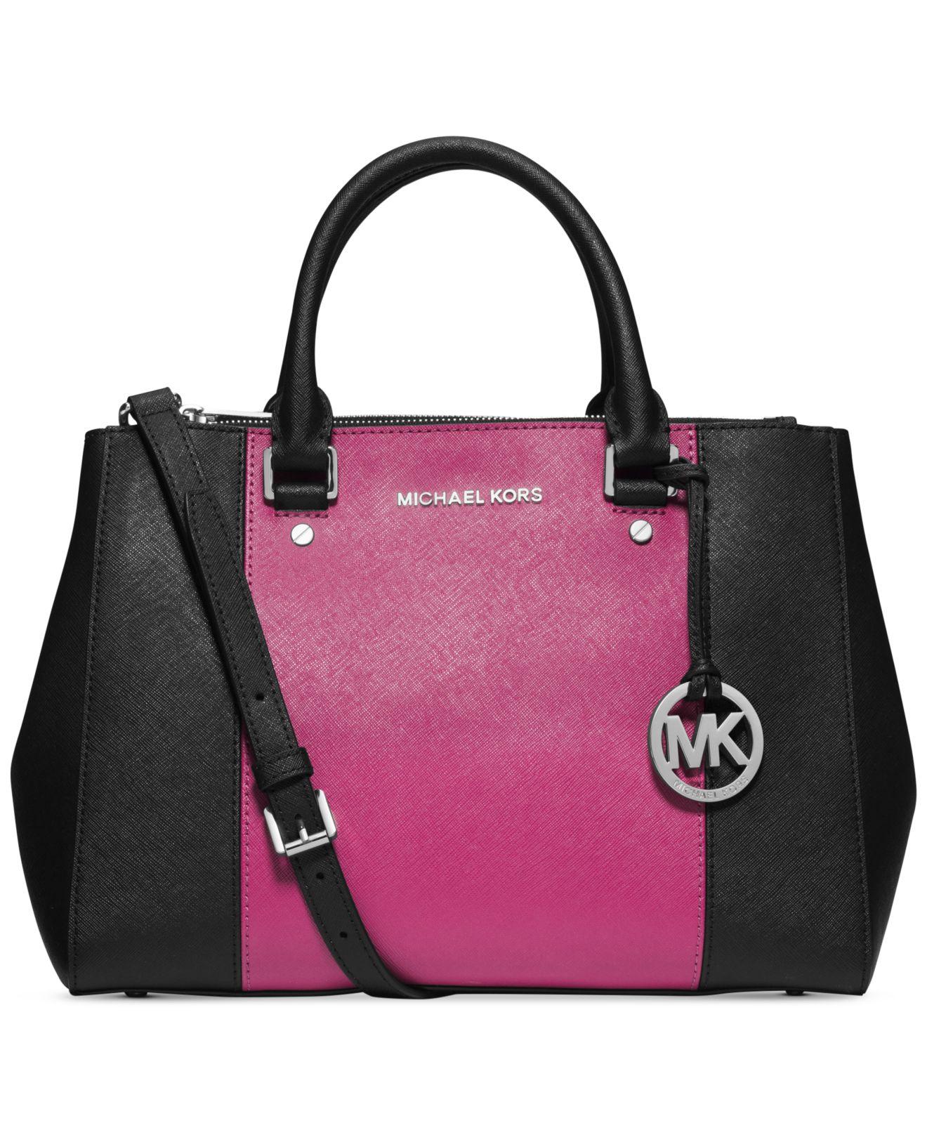 662413fd97 ... order lyst michael kors michael sutton center stripe medium satchel in  41334 f71e7