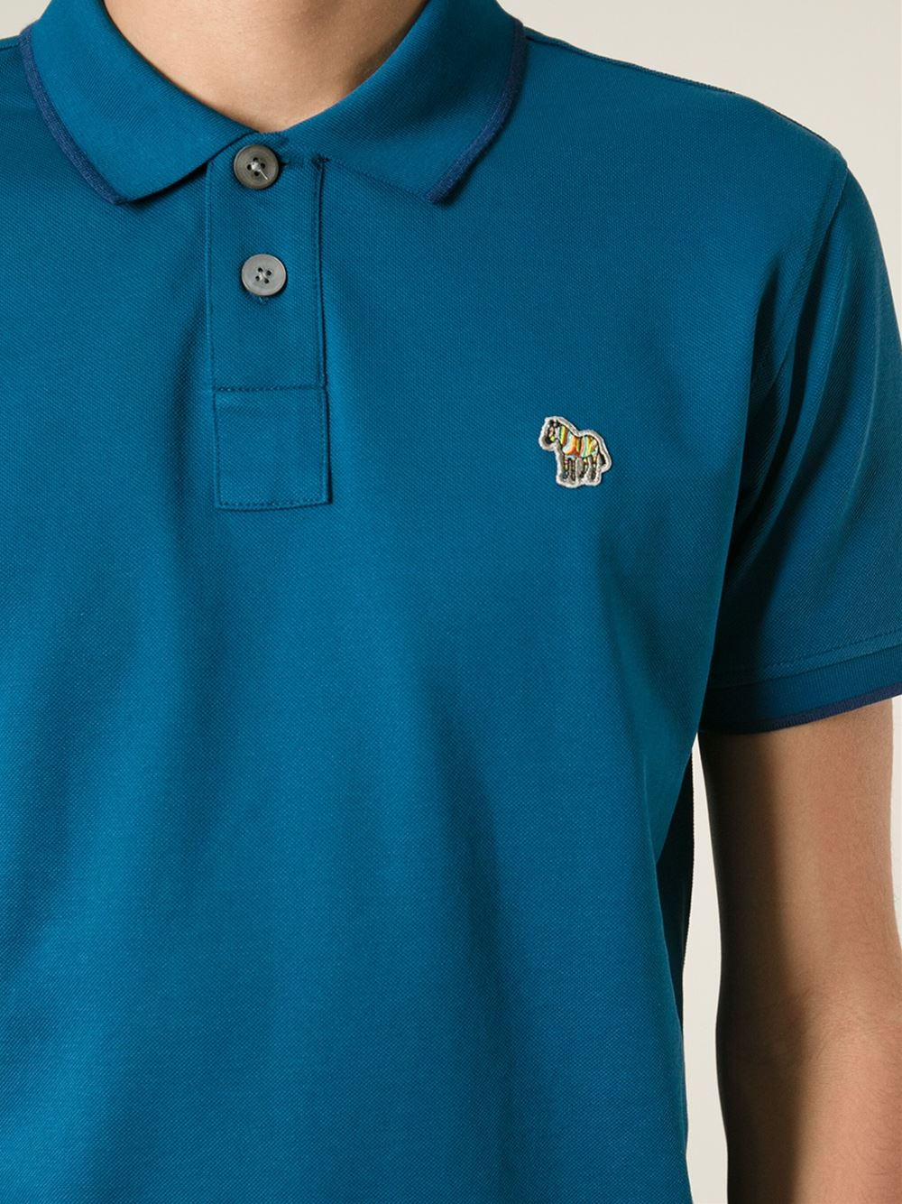 efa53528 Paul Smith Zebra Polo Shirt in Blue for Men - Lyst