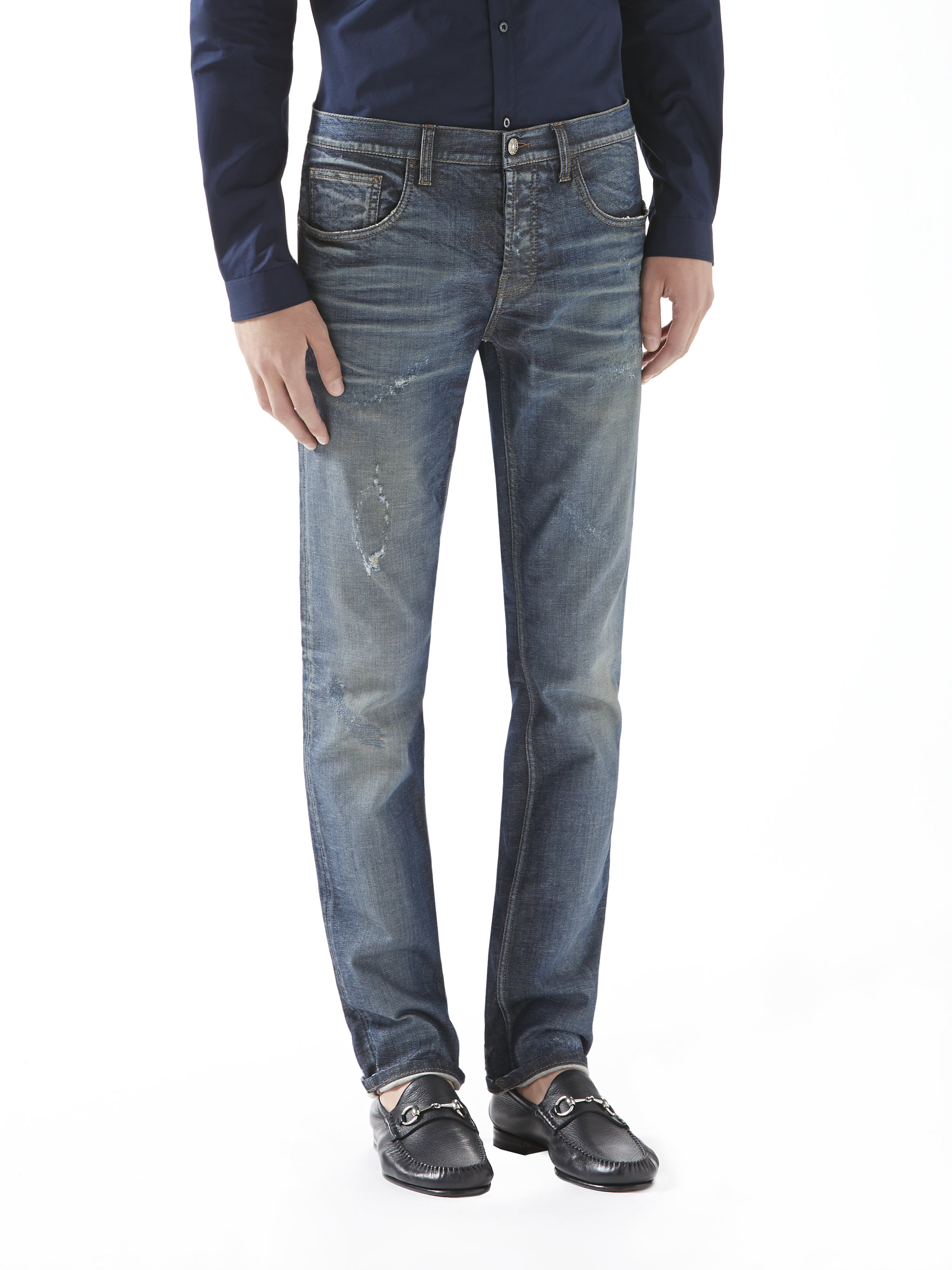 Gucci Stonewashed Stretch Denim Skinny Jeans in Blue for Men | Lyst
