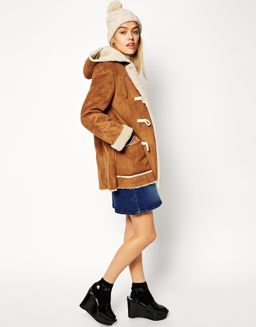 Asos Exclusive Faux Shearling Duffle Coat in Brown | Lyst