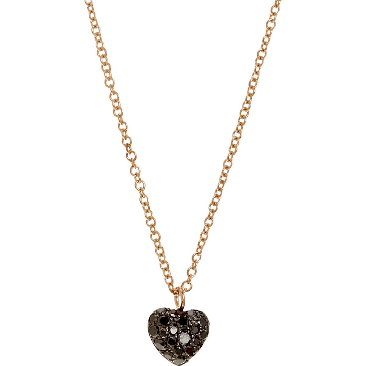 Lyst finn black diamond puffed heart pendant necklace in metallic gallery aloadofball Image collections