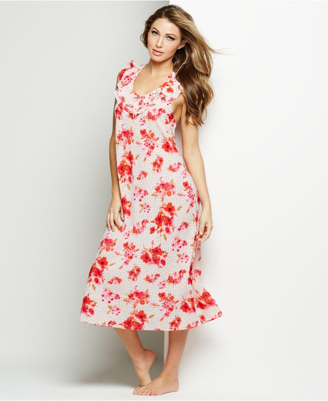 Lyst - Oscar de la Renta Pink Label Floral Ruffle Long Nightgown in ... 652cbb302