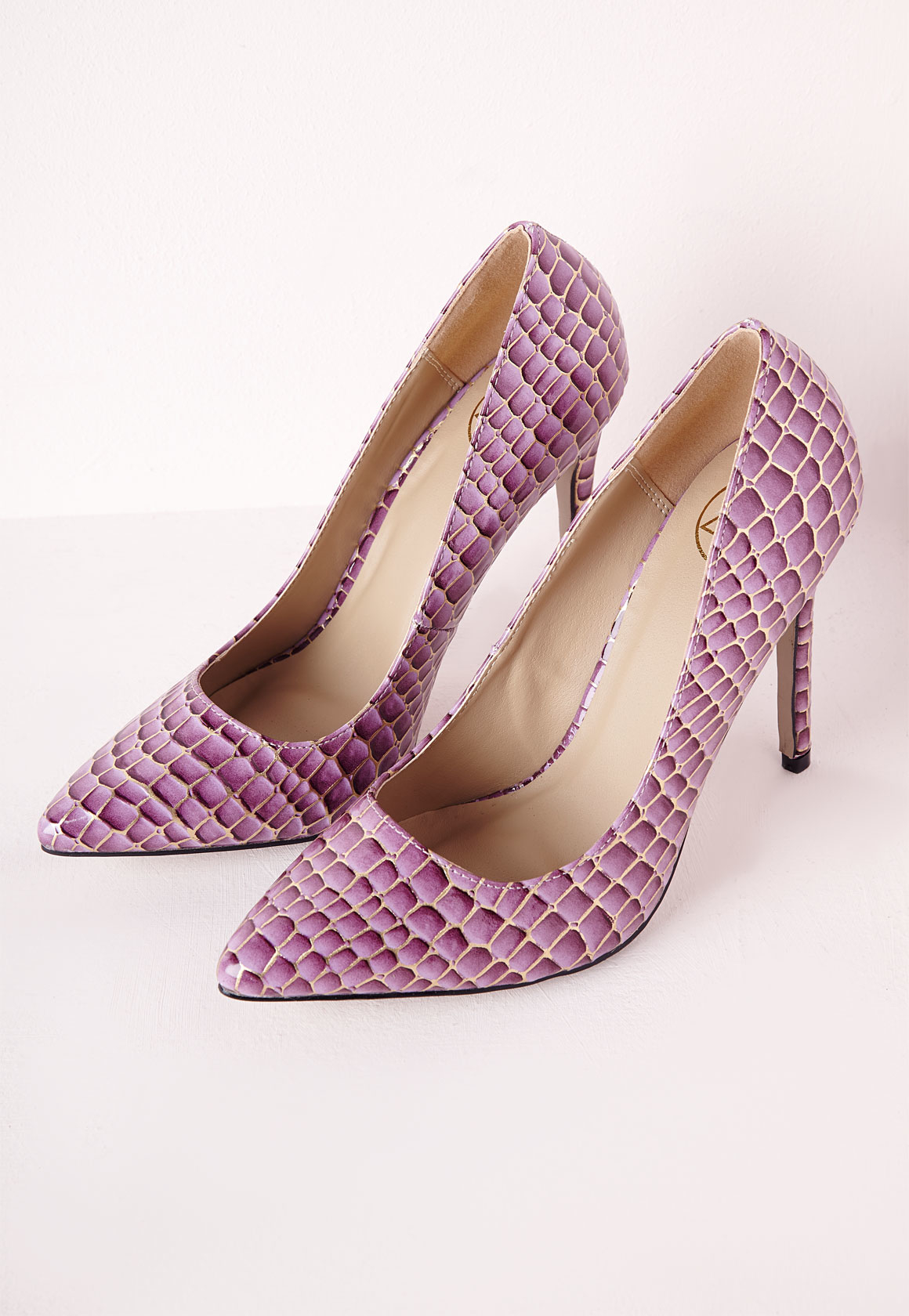 Missguided Stiletto Heel Pumps Patent Lilac Croc in Purple | Lyst