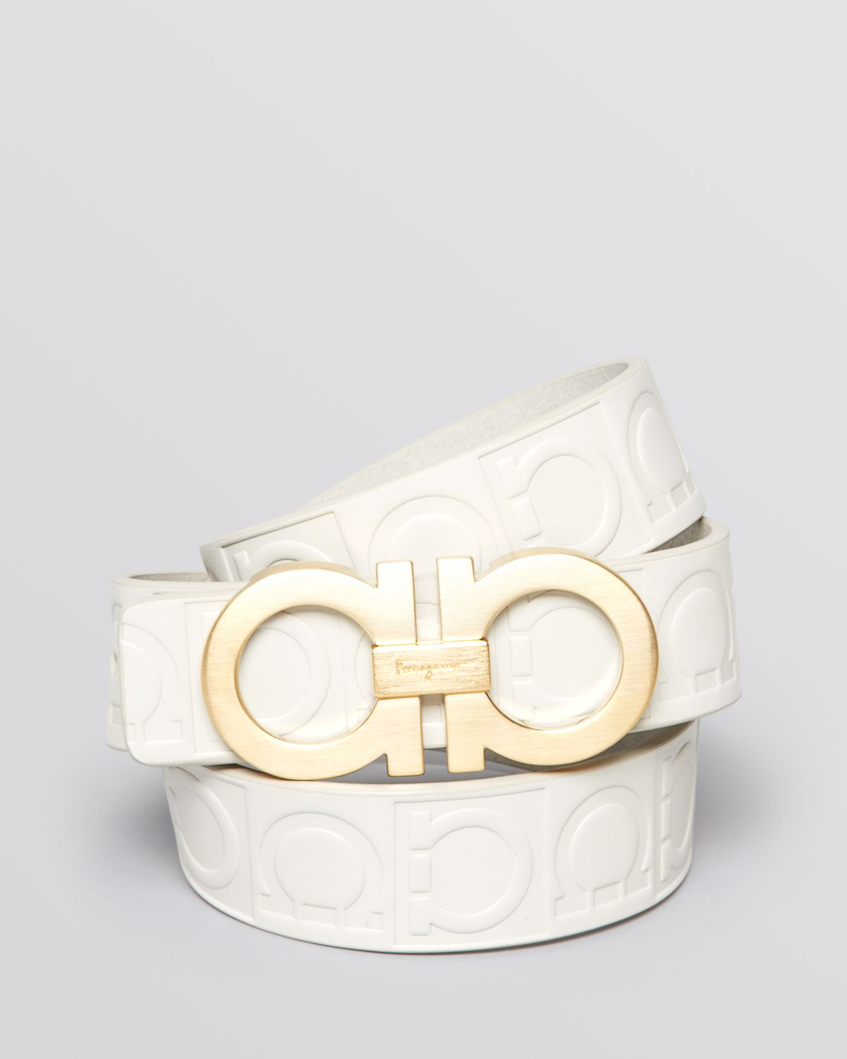 Lyst - Ferragamo Stamped Gancini Gold Buckle Belt in White ...