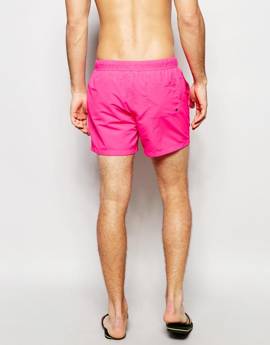 edc55da5121b6 ASOS Swim Shorts 2 Pack In Neon Pink And Black In Short Length Save ...