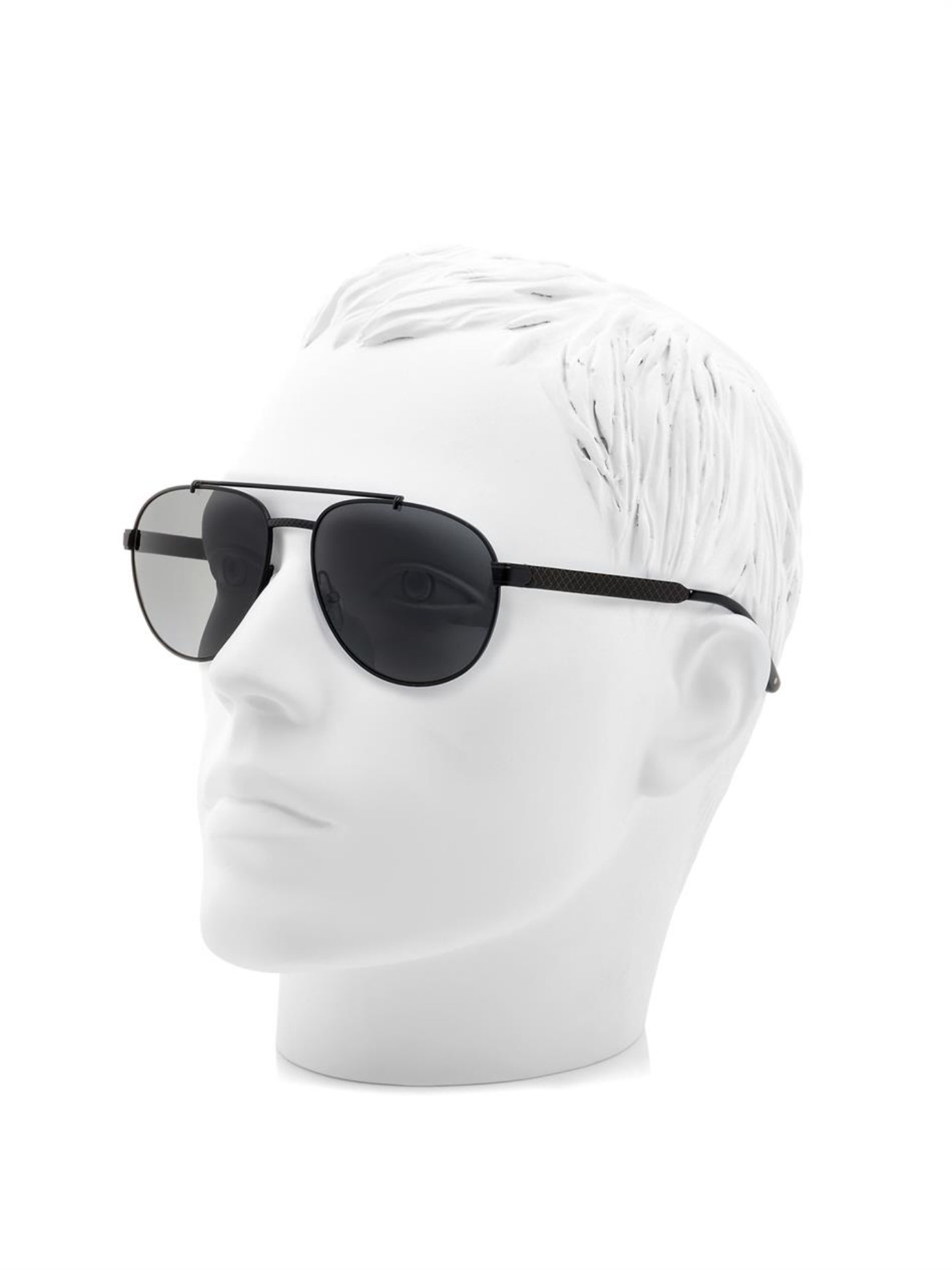 e65d46ed94970 Bottega veneta Leather And Metal Aviator-Style Sunglasses in Black for Men