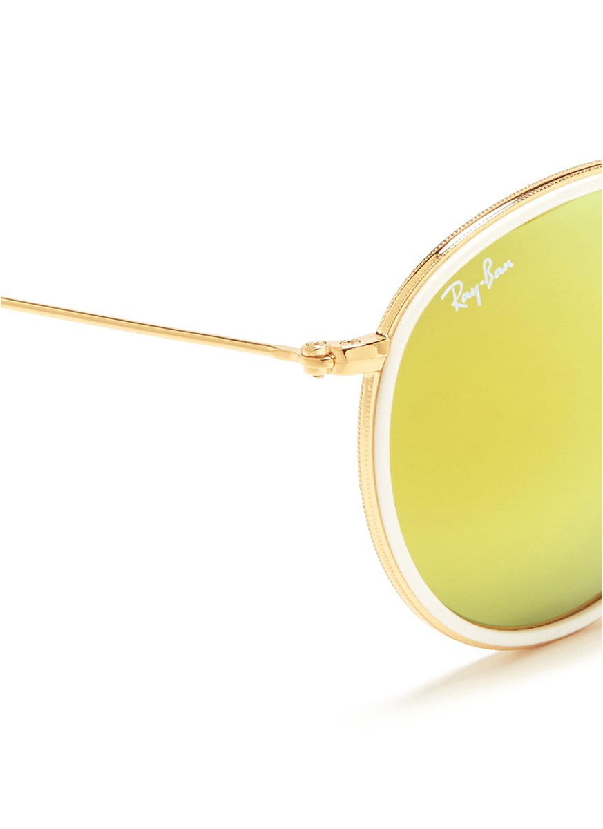 ray ban rb3517 round folding flash lenses 001 z2