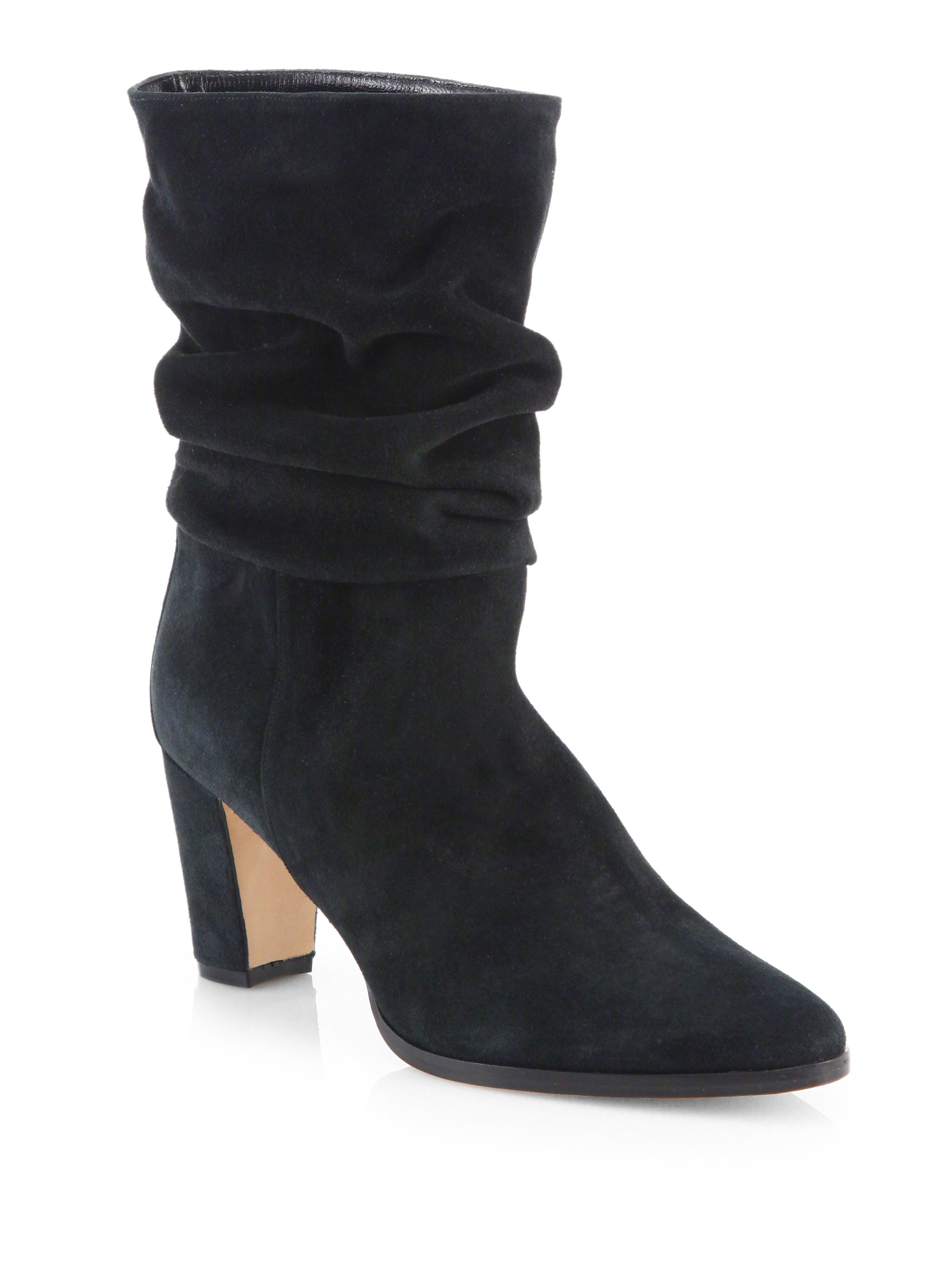 manolo blahnik slouchy suede midcalf boots in black
