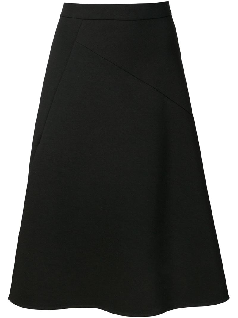 Jil sander Midi A-line Skirt in Black | Lyst