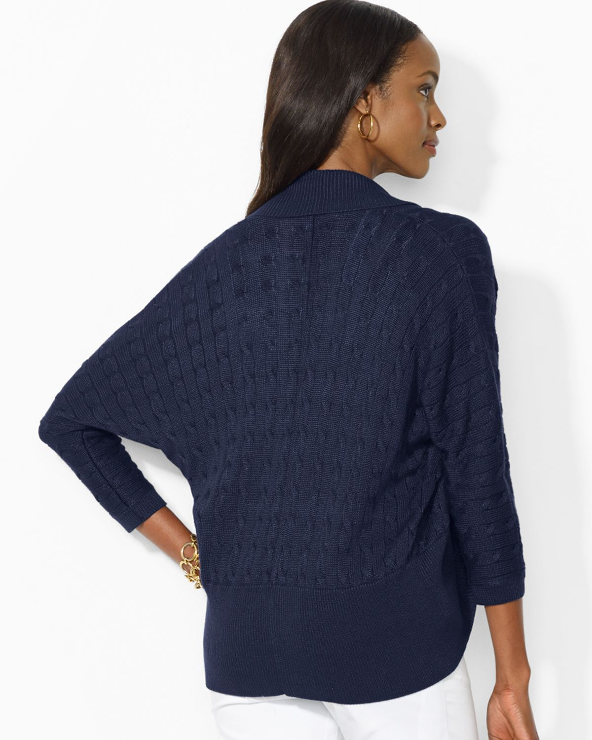 Ralph lauren Lauren Cable Knit Open Cardigan in Blue | Lyst