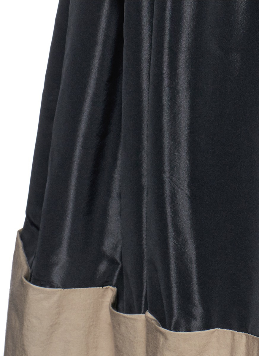 tome taffeta paperbag waist cotton combo maxi skirt in