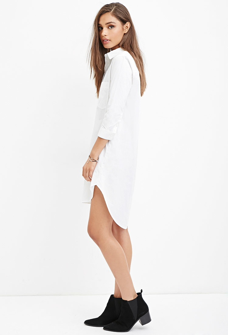 a6e8b0a9693 Forever 21 Utility-inspired Shirt Dress in White - Lyst