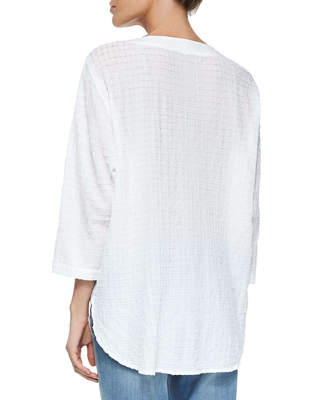 Eileen Fisher Organic Cotton Voile Box Shirt Amp Stretch