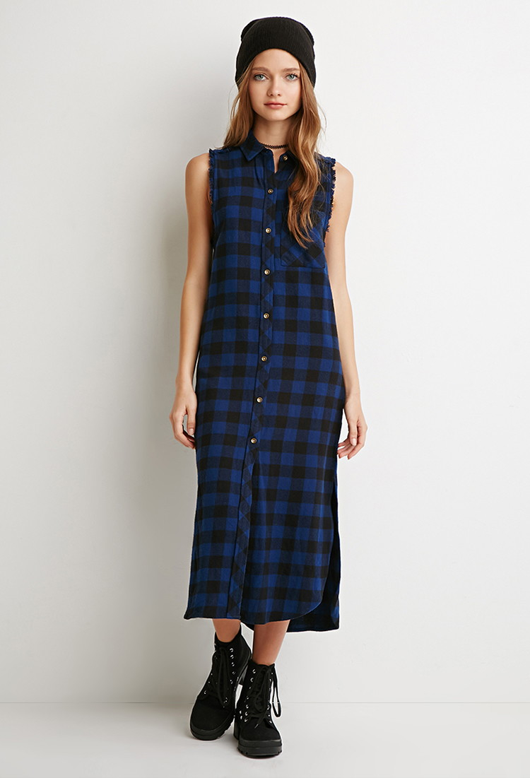 Lyst Forever 21 Raw Cut Flannel Shirt Dress In Blue