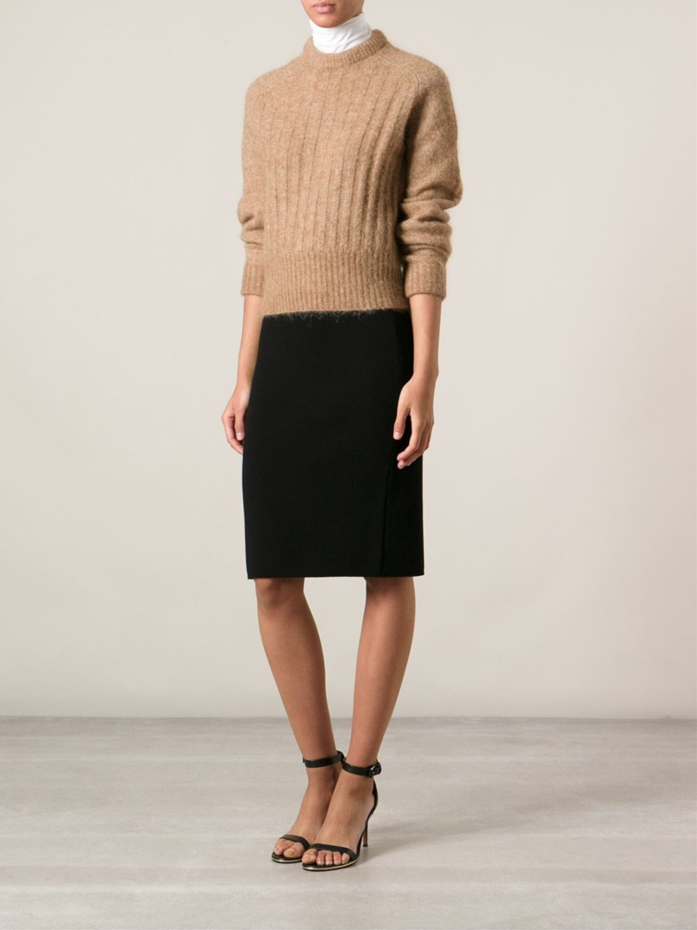 Acne studios Ribbed Sweater in Natural | Lyst
