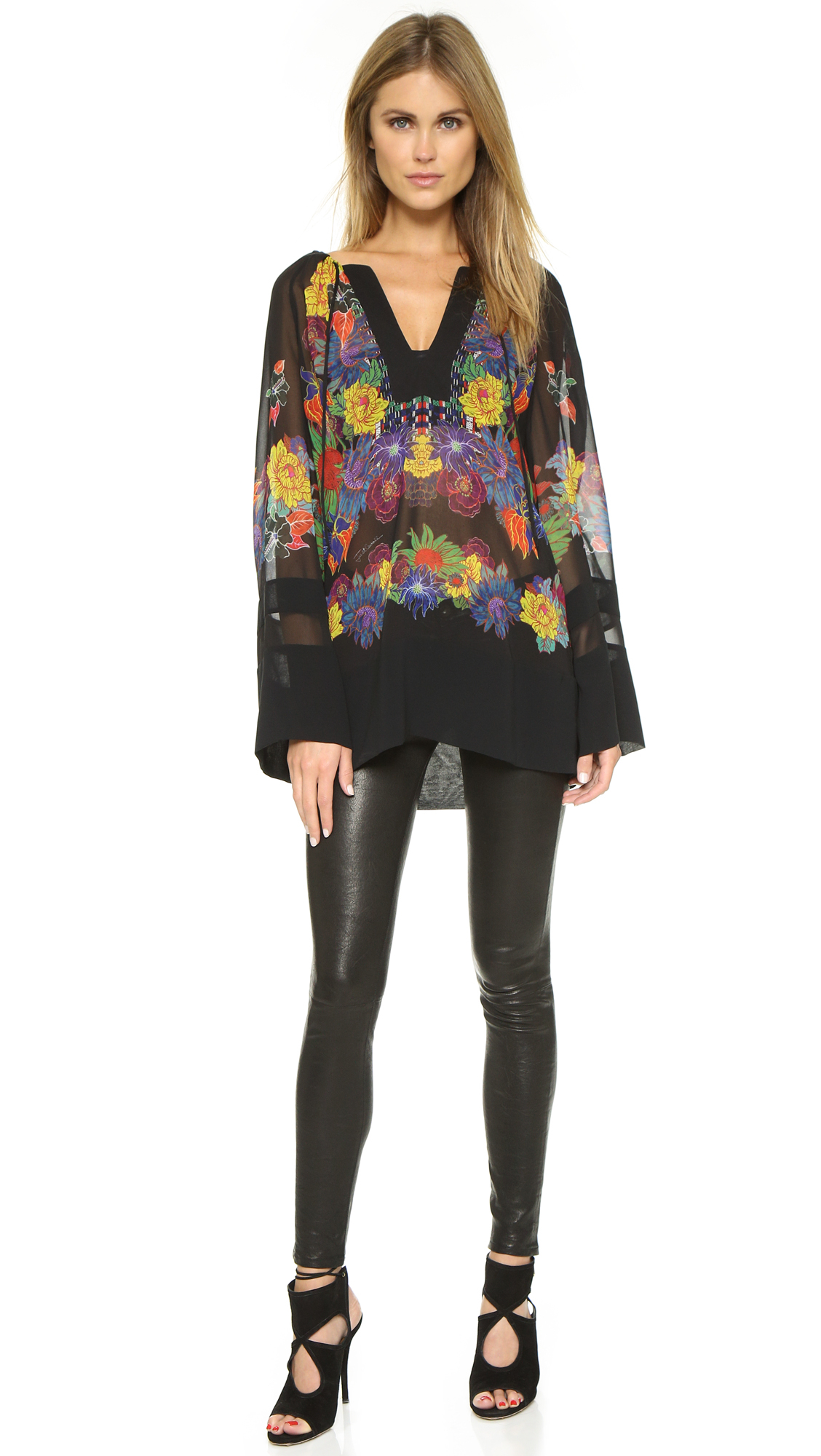 Lyst Just Cavalli Mexican Couture Print Blouse Black Variant In