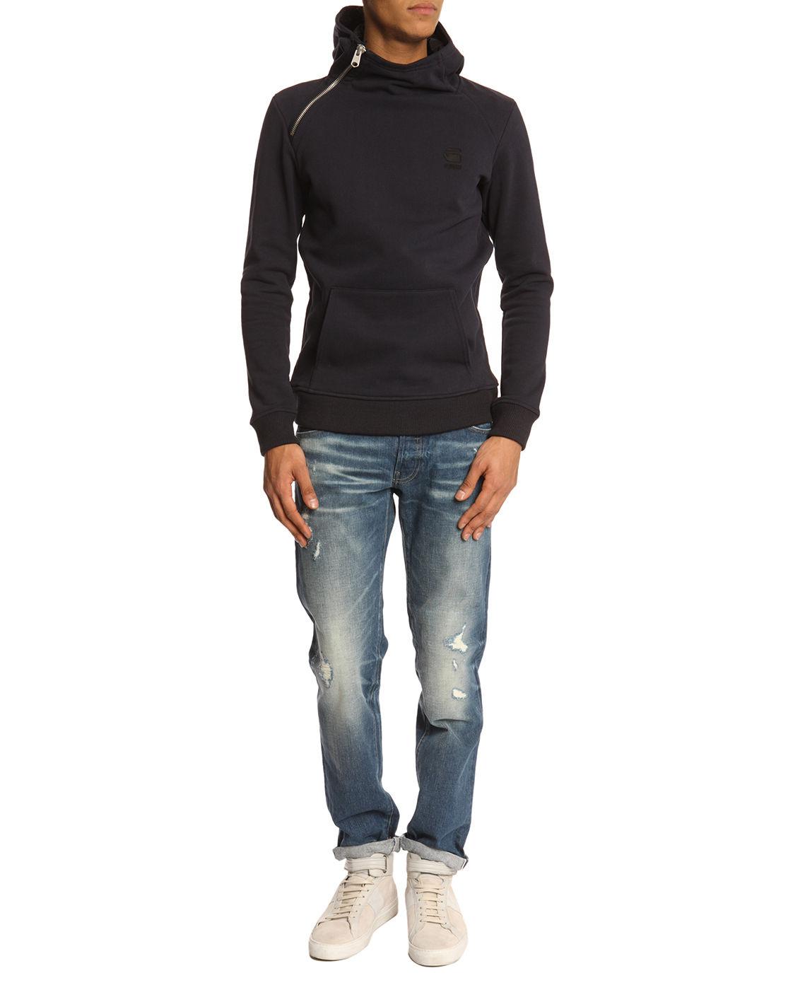 g star raw canadian navy hooded sweatshirt in blue for men. Black Bedroom Furniture Sets. Home Design Ideas