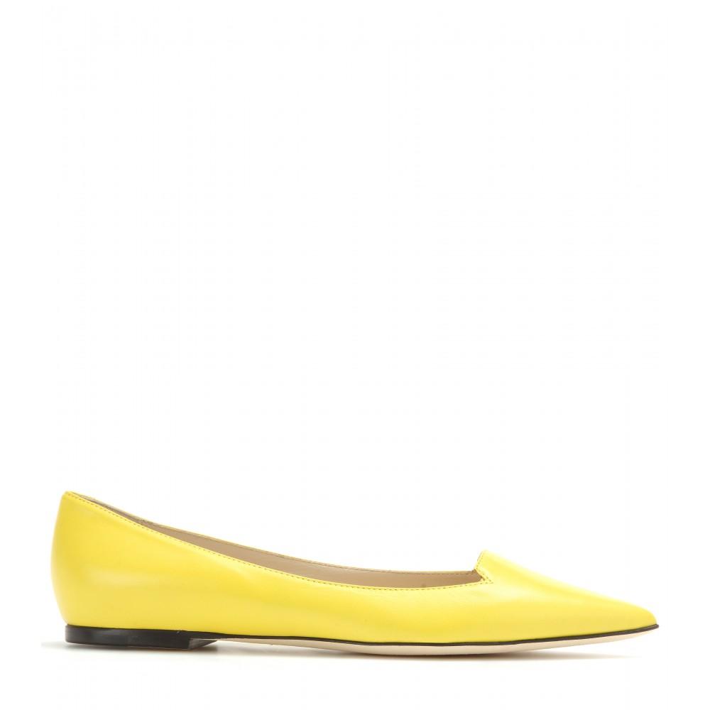 lyst jimmy choo atilla leather pointed toe flats in yellow rh lyst com