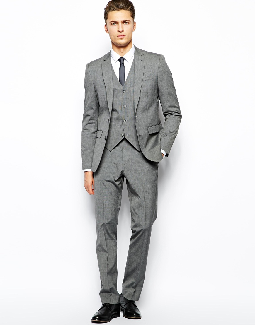 Asos Slim Suit Trousers In Mid Grey in Gray for Men | Lyst