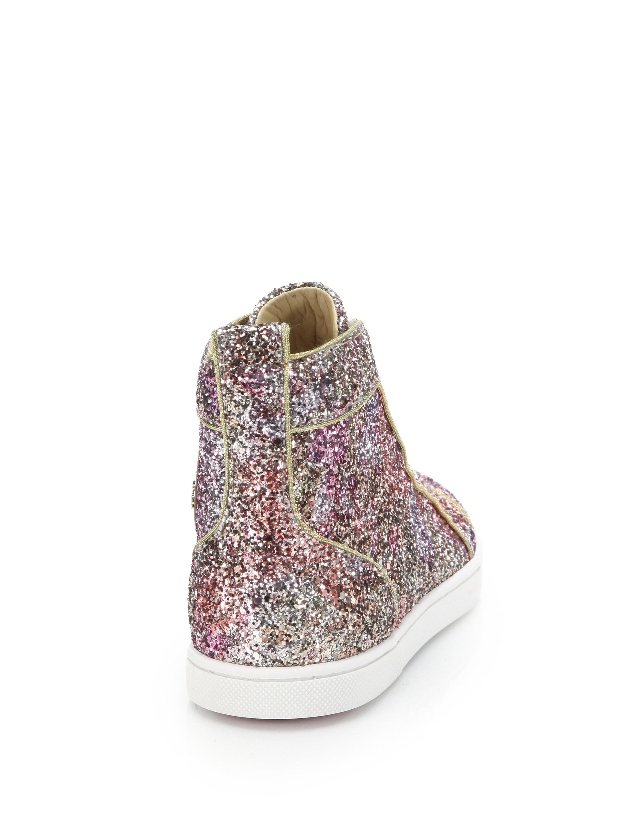 Lyst - Christian Louboutin Bip Bip Glitter High-top Sneakers in Pink cbb8f7e20a