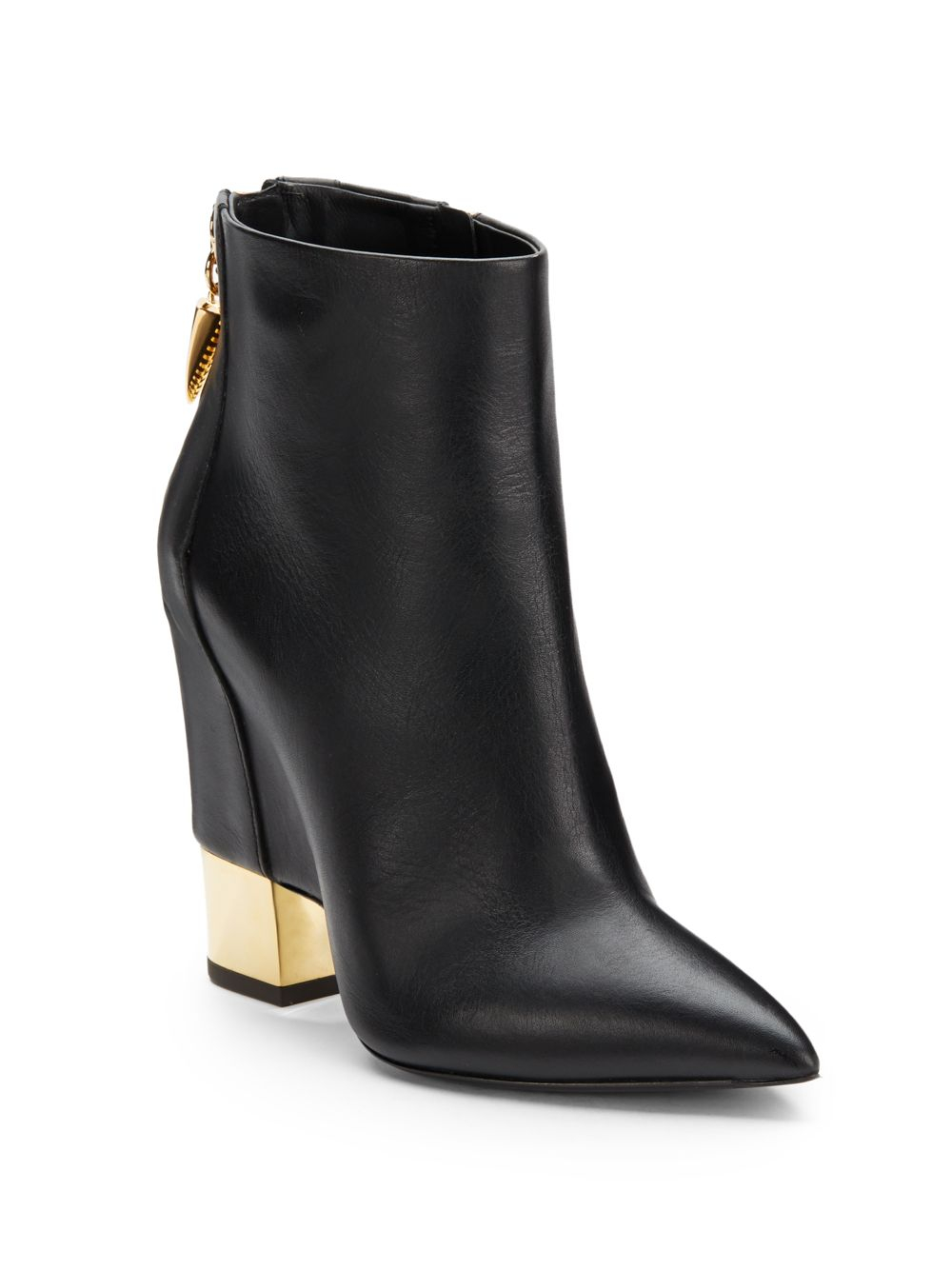 Giuseppe zanotti Leather Wedge-Heel Boots in Black | Lyst