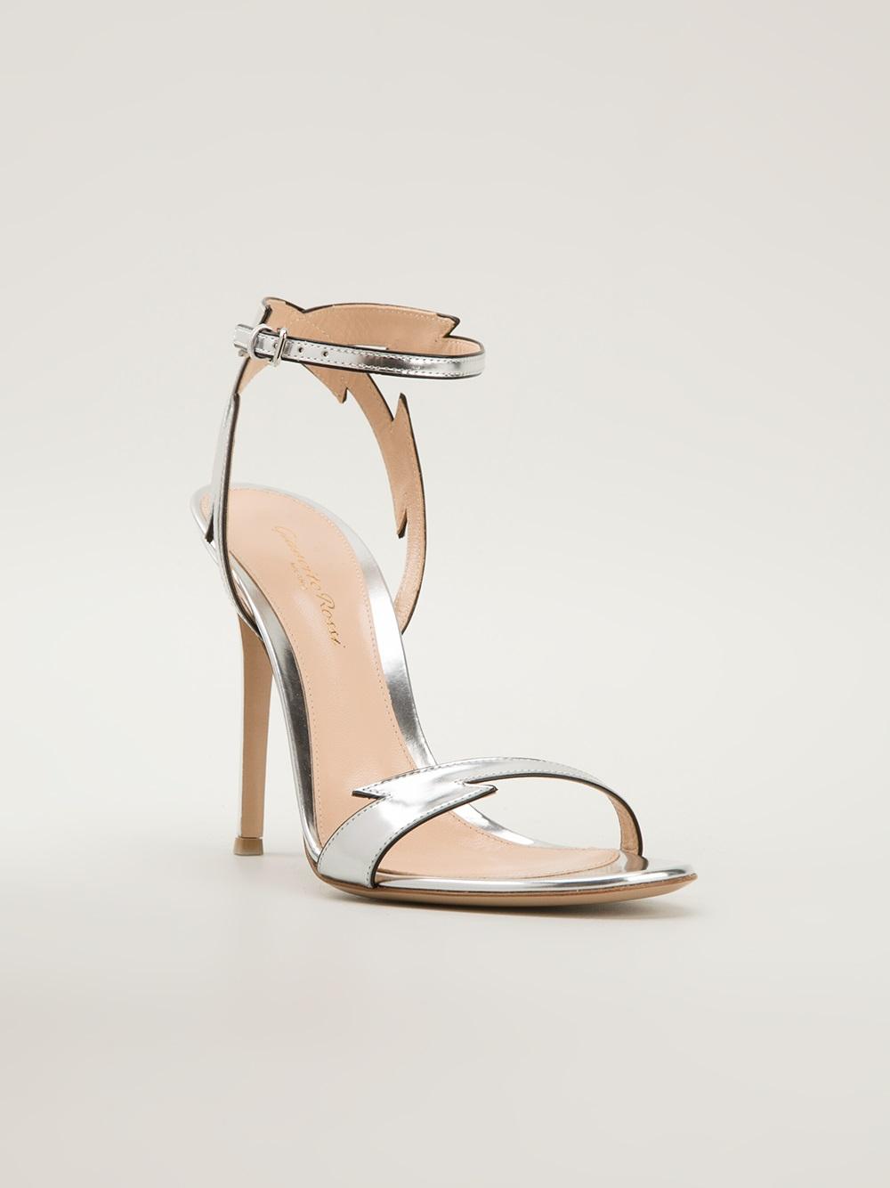 Gianvito Rossi Strappy Stiletto Sandals In Silver