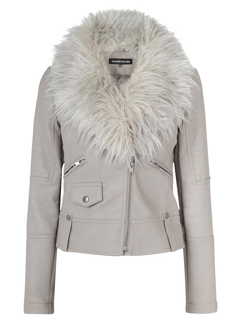 Lyst Warehouse Luxe Faux Fur Trim Biker Jacket In Gray