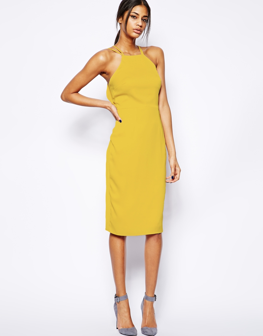 Lyst Asos Midi Dress With Drape Back Pencil In Yellow