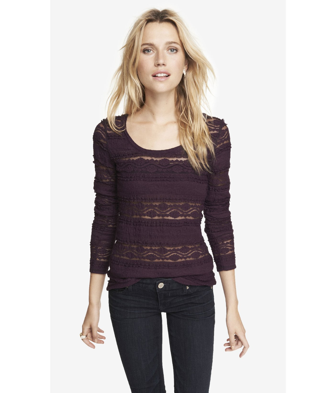 9ca92c984d Express Scoop Neck Tiered Stretch Lace Tee in Purple - Lyst