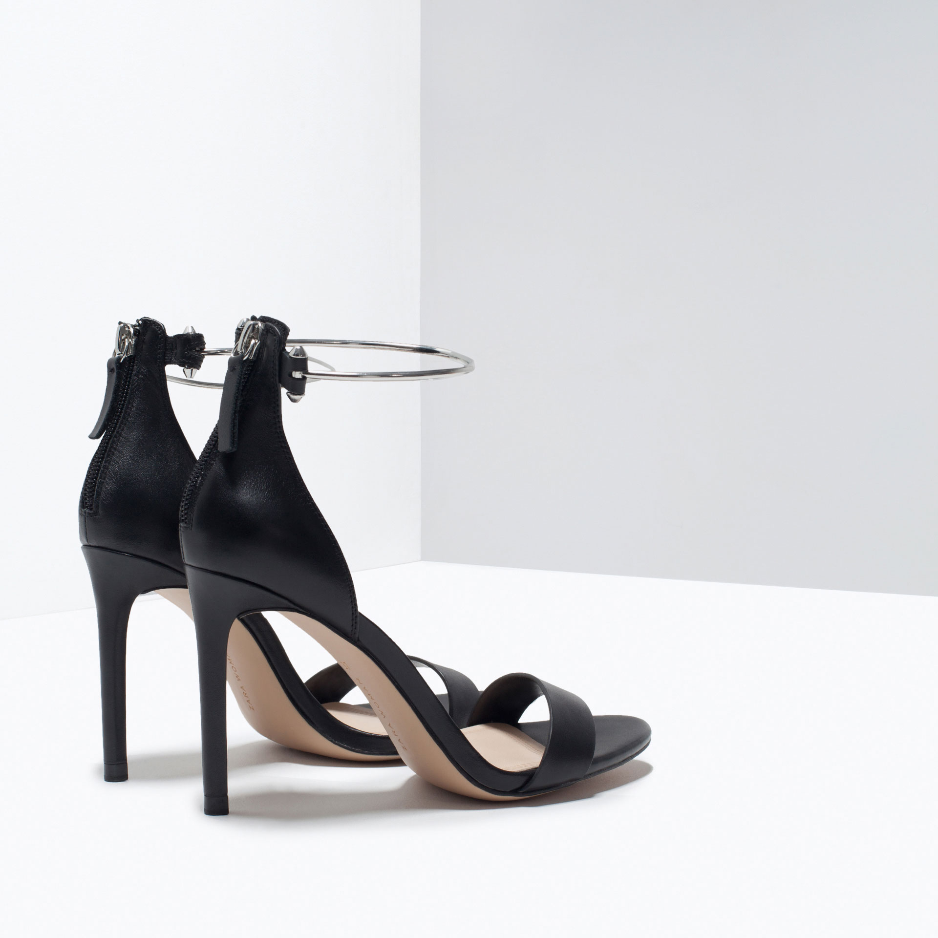 Zara Leather High Heel Sandal With Ankle Strap Leather High Heel ...