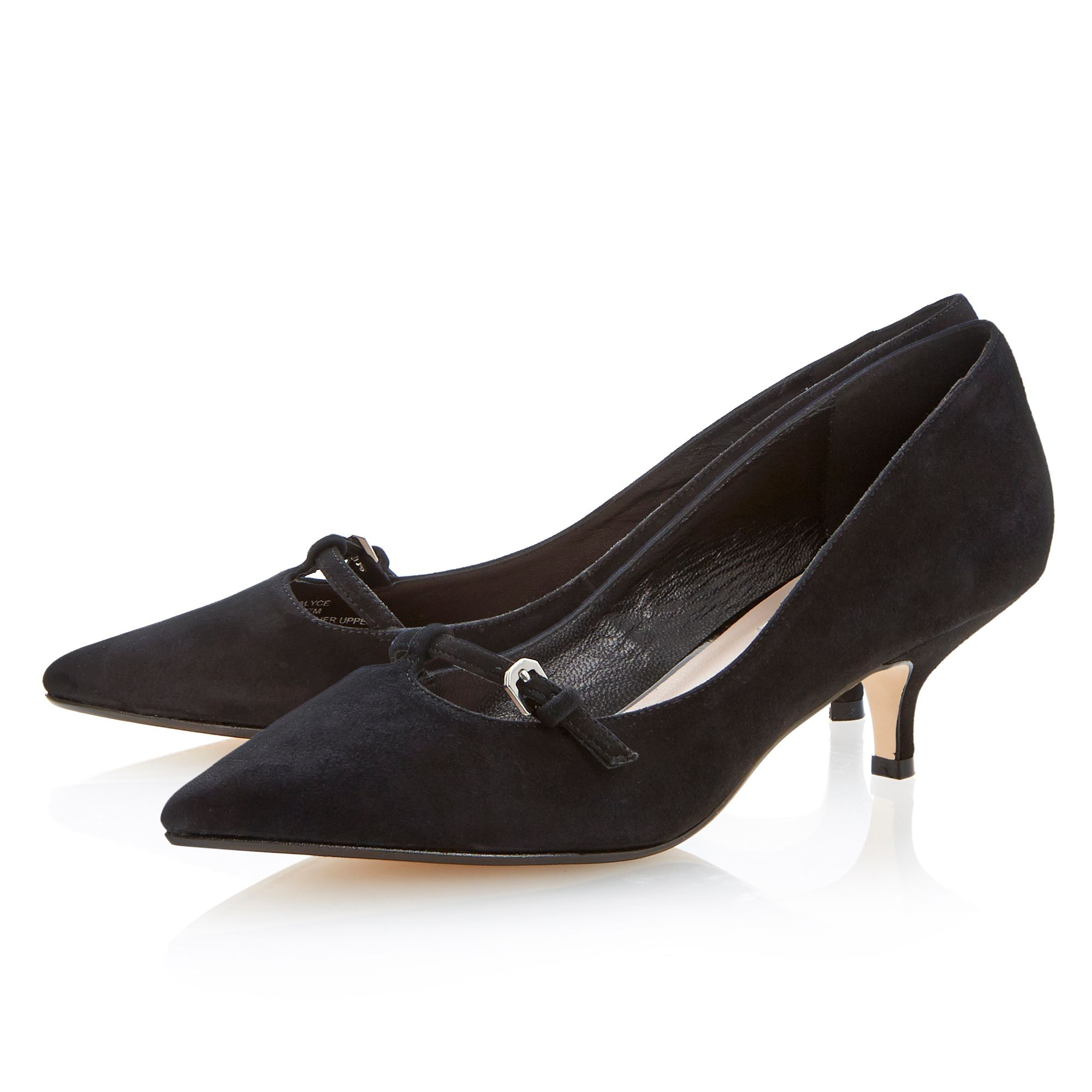 Dune Alyce Suede Pointed Toe Kitten Heel Shoes in Black  Lyst