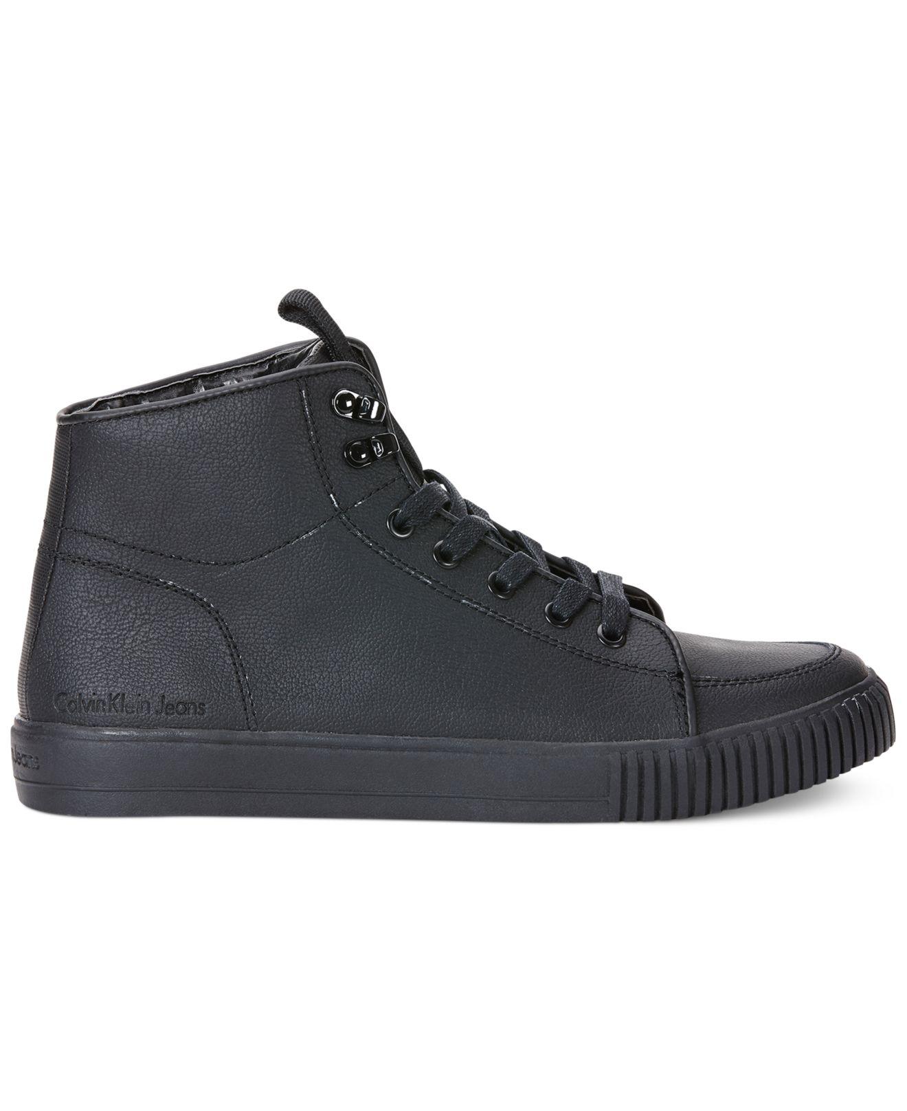 calvin klein jeans jenson leather hi tops in black for men lyst. Black Bedroom Furniture Sets. Home Design Ideas