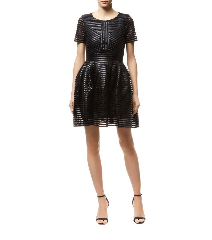 Maje Roybridge Striped Leather Look Dress In Black Lyst