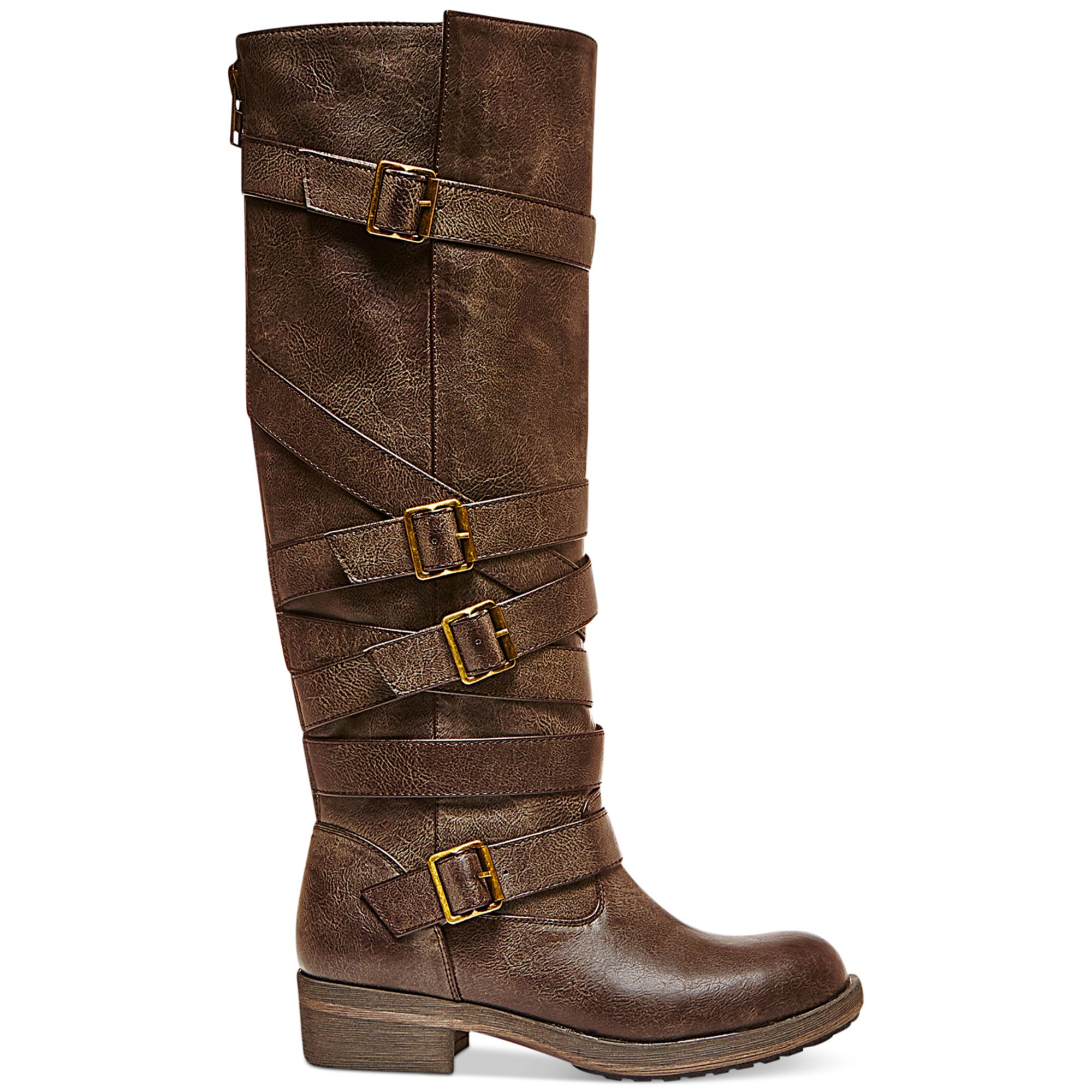 Madden Girl Lilith Tall Shaft Strapped Buckle Boots In