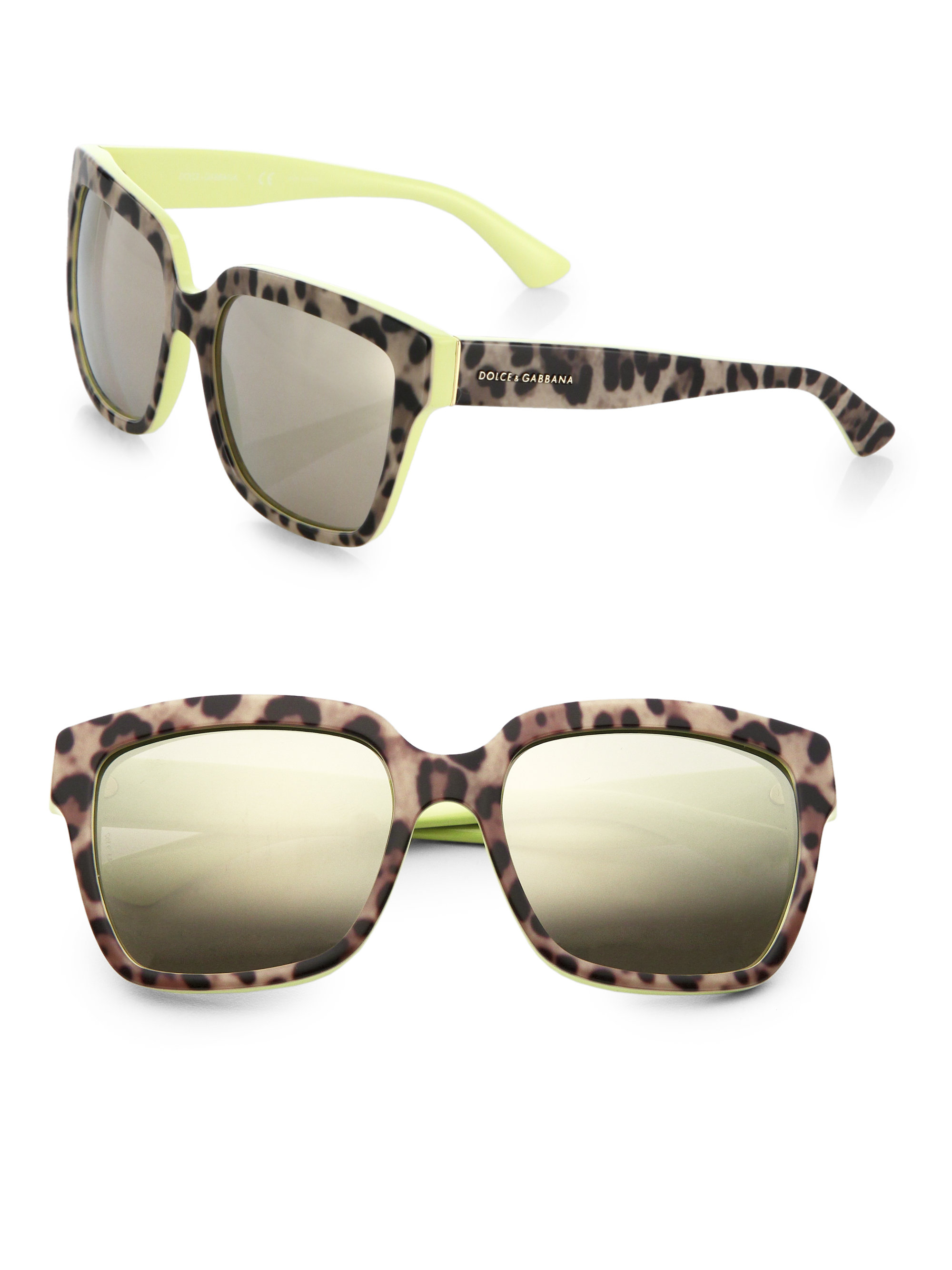 412323760448 Lyst - Dolce & Gabbana Leopard-print 57mm Square Sunglasses in Yellow